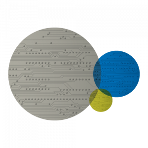 Gray, blue and lime circles with circuit patterns